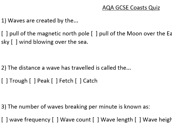 AQA Geography GCSE paper 1 - multiple choice quizzes tectonics, weather hazards, rivers, coasts, etc