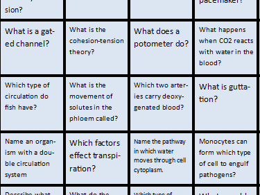 Exchange and transport revision game - A level Biology