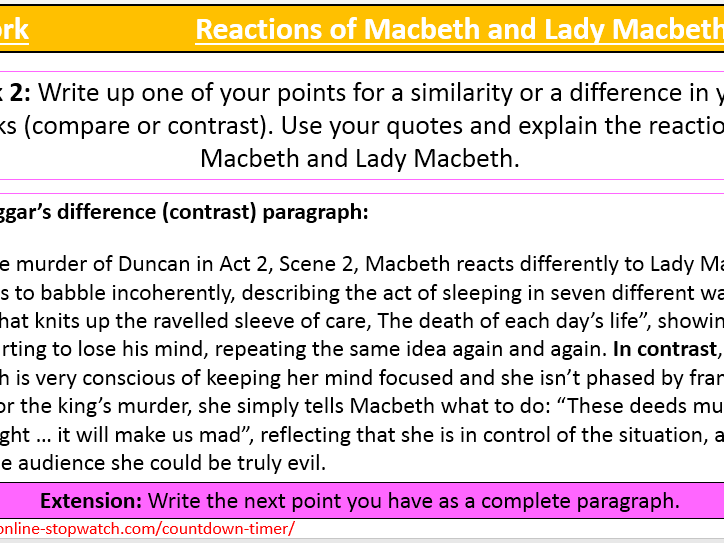 Reactions of Macbeth and Lady Macbeth after Duncan's murder (Act 2, Scene 2)