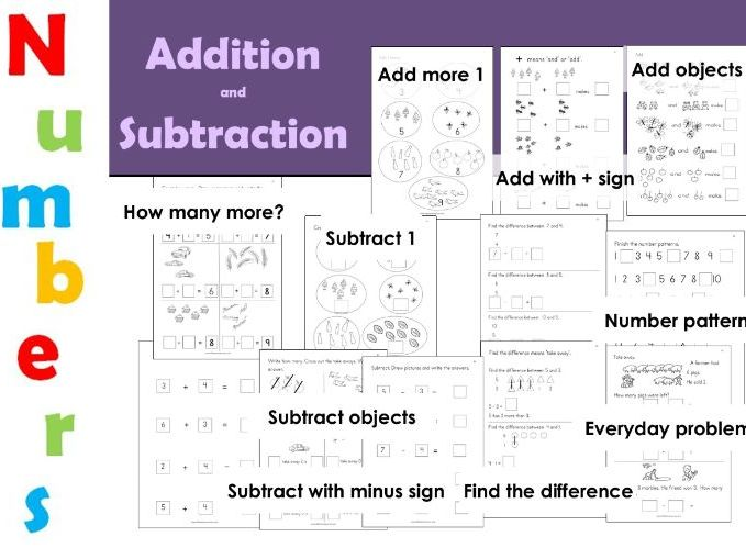 Beginning addition and Subtraction EYFS Workbook Home learning
