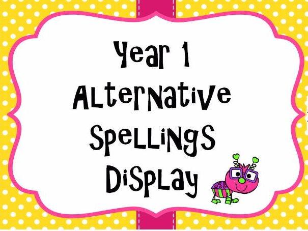 Alternative Spelling Display Pack Year 1 - Year 2