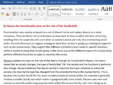 NEW SPEC OCR A LEVEL SOCIOLOGY: Family and relationships essays (PAPER 1)