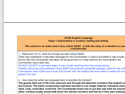 'GO84' Language Paper One mock INCLUDING indicative content