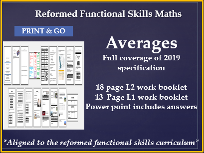 Reformed functional skills Averages L1 & L2 workbooks and ppt