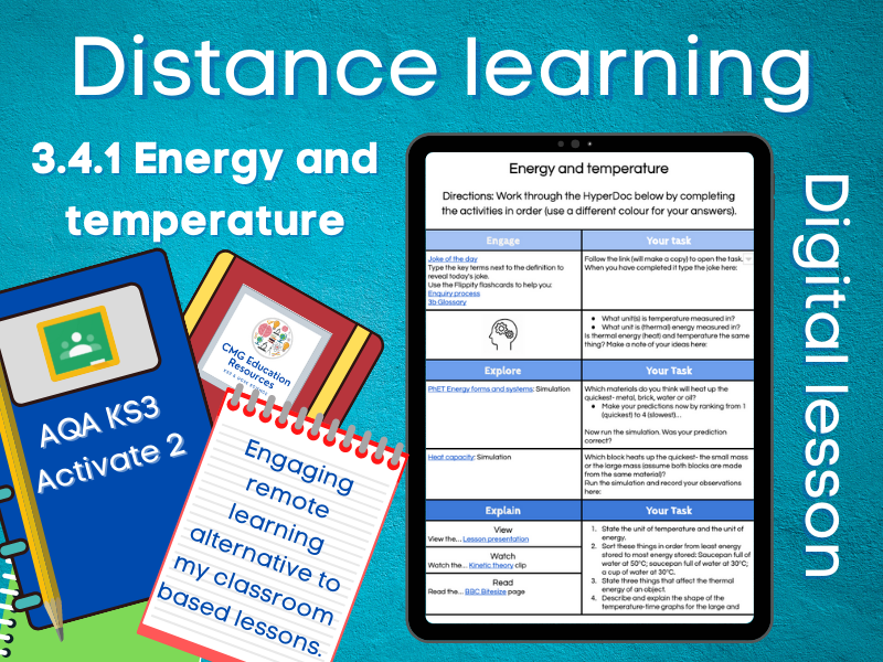3.4.1 Energy and temperature: Distance learning (AQA KS3 Activate 2)