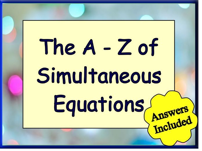 Simultaneous Equations - over 90 questions with answers