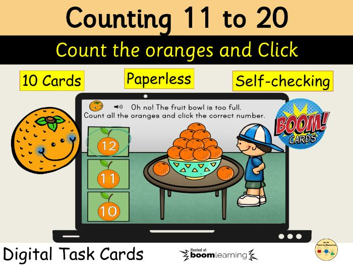 Counting 11 to 20 Oranges BOOM Cards Distance Learning Task Cards