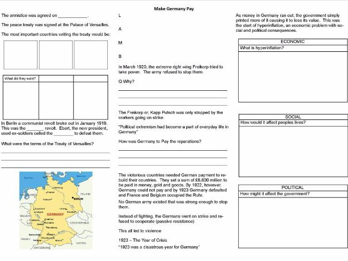 'Make Germany Pay' - Worksheet to support the BBC TV Documentary
