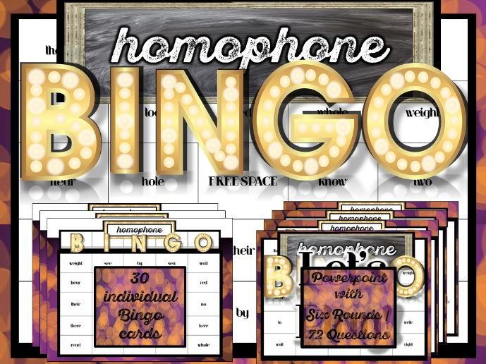 Grammar Activity: Homophone BINGO! Powerpoint and Bingo Cards