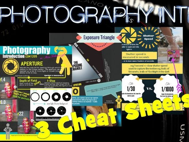 "3 Photography Intro ""Cheat Sheets"""