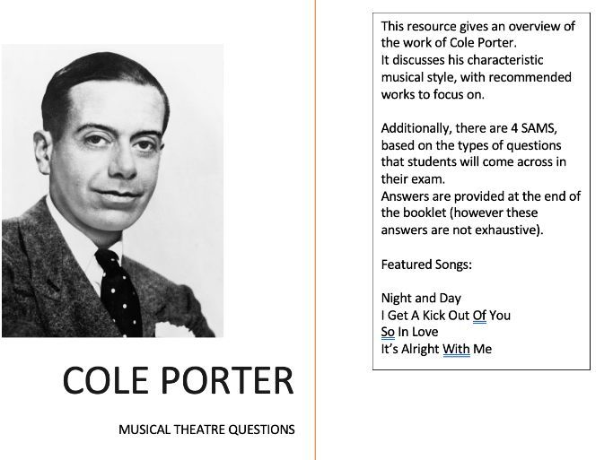 WJEC As Level Musical Theatre - Cole Porter