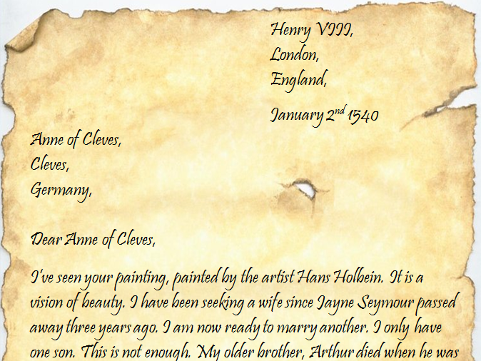 Comprehension of letter from Henry VIII to Anne of Cleves (Tudors)