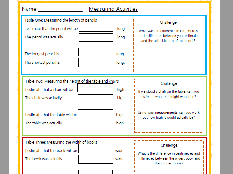 Estimating and Measuring in CMs (around the classroom) Worksheet