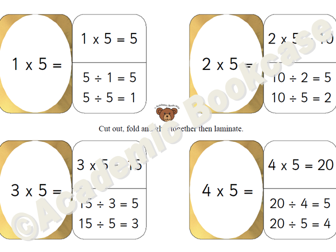 5 times table self check flashcards with inverse on the back