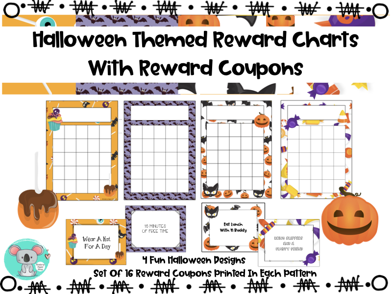 Reward Charts With Classroom Reward Coupons - Halloween Themed