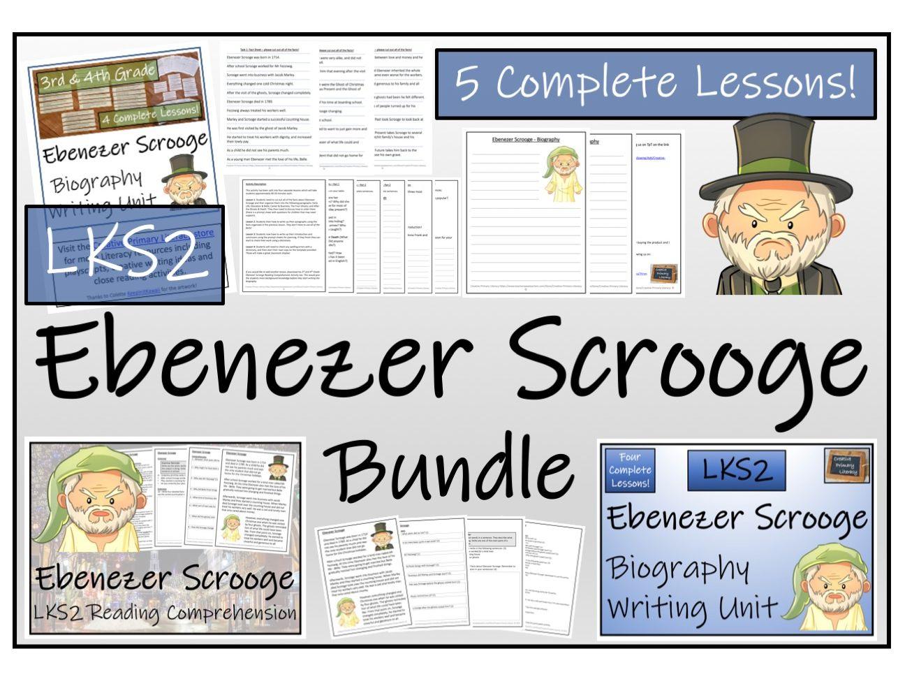 LKS2 Literacy - Ebenezer Scrooge Reading Comprehension & Biography Bundle