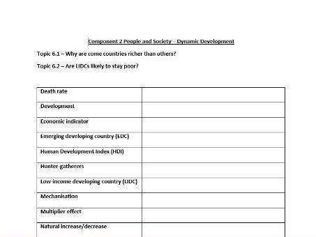 GCSE Geography OCR B 9-1- Key Word Glossary - Topic 6 - Dynamic Development