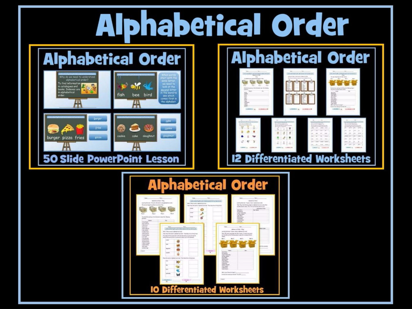 Alphabetical Order - 50 Slide PowerPoint Lesson -  Set of 22 Diffferentiated Worksheets