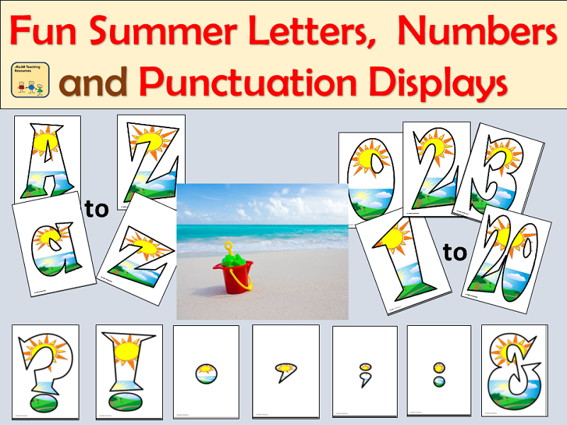 Fun Summer-Themed Alphabet Lettering, Numbers and Punctuation Symbols