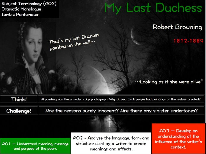 Revision - My Last Duchess - Robert Browning - AQA Poetry - Power and Conflict