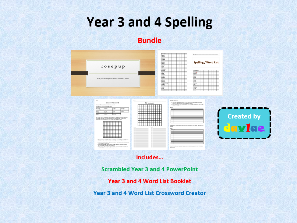 Year 3 and 4 Spelling Bundle