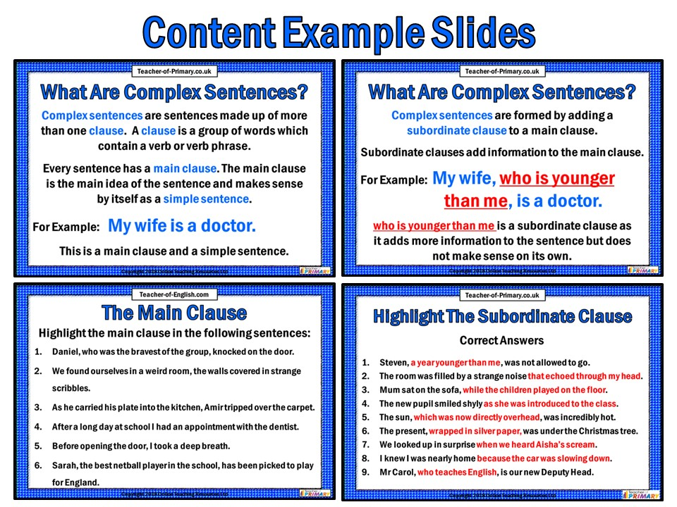 Complex Sentences 14 Slide Powerpoint And 4 Worksheets By