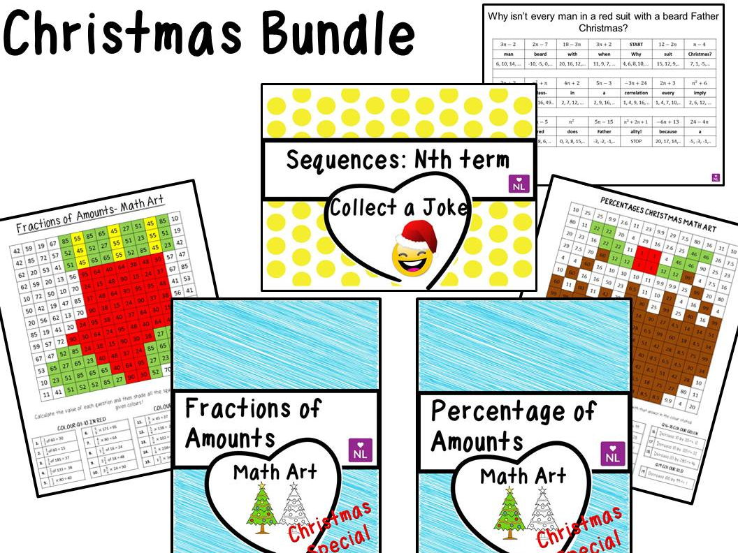 Percentages of Amounts, Christmas Special (Math Art) by NumberLoving ...