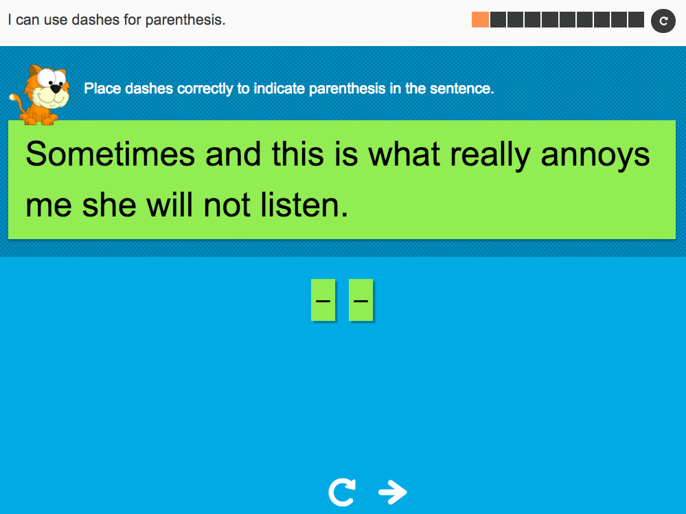 I can use dashes for parenthesis - Interactive Activity - Year 5 Spag