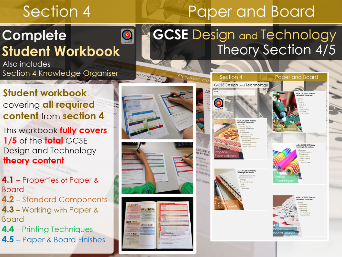 GCSE DT Theory - Section 4/5 - Workbook - Paper and Board