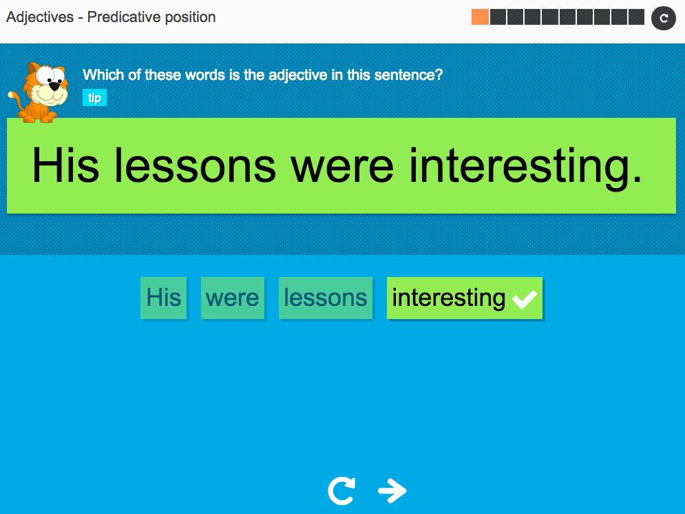 Adjectives: Predicative position - Interactive Activity - KS3 Spag