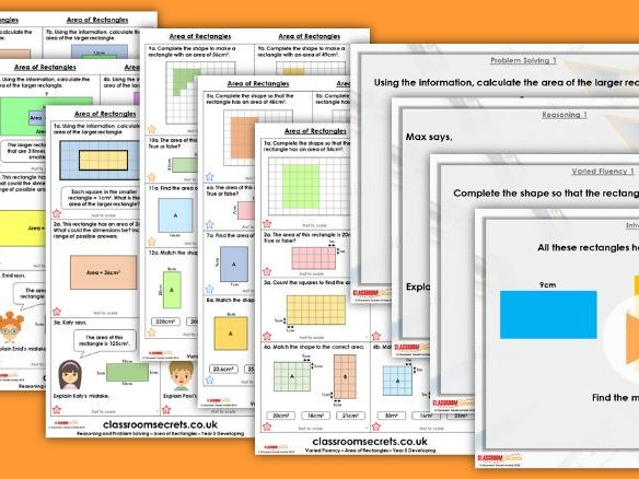 Year 5 Area of Rectangles Autumn Block 5 Step 4 Lesson Pack