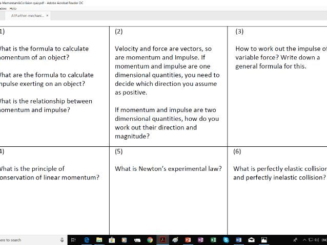 A1 Further maths Mechanics on Momentum and Collision in  (pair activity for peer check/discussion)