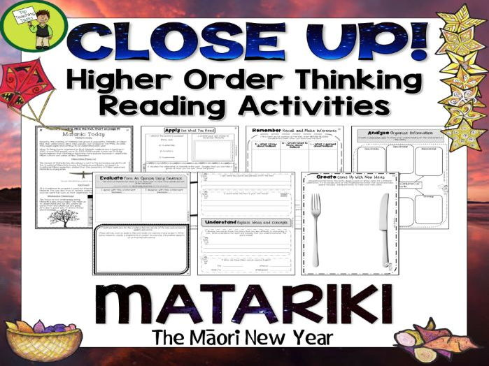 Matariki Close Reading Comprehension Texts - Higher Order Thinking Activities