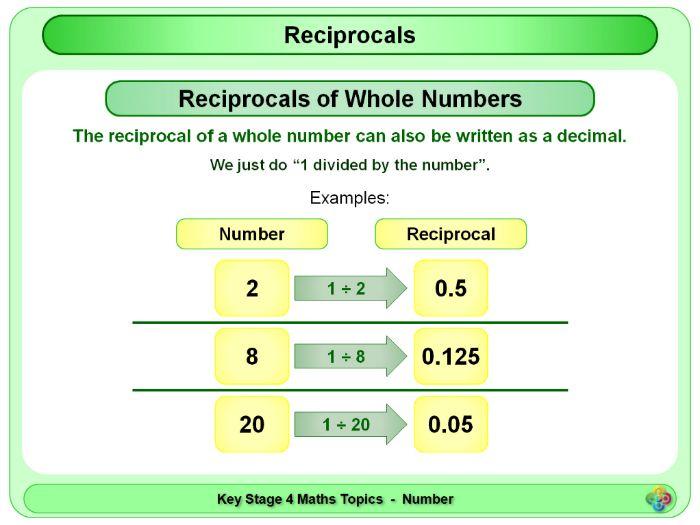 Reciprocals KS4