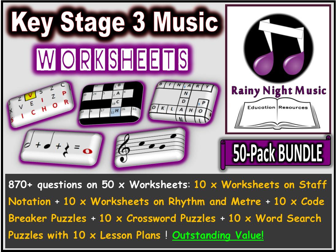 Music Worksheets Pack of 50 Bundle
