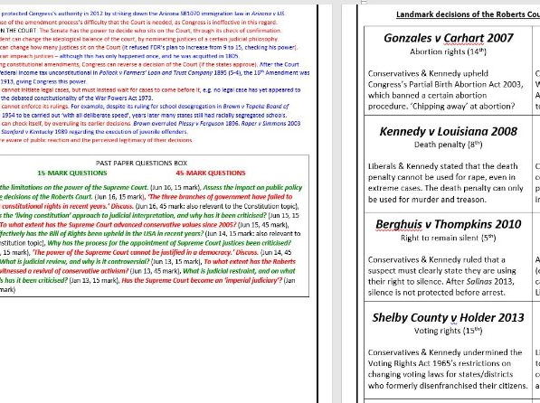 Edexcel A2 USA Government & Politics Revision Guide (Full content 47 pages)