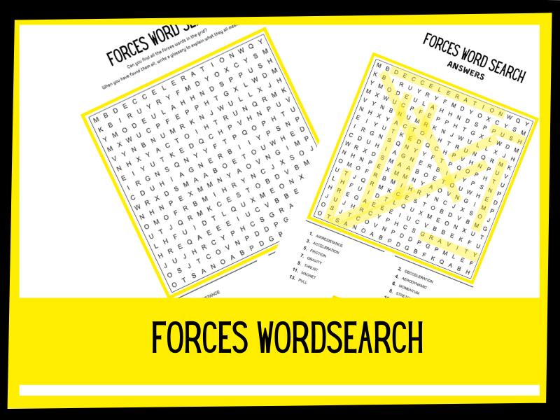 Forces wordsearch | KS2