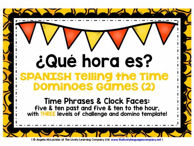 SPANISH TELLING THE TIME (2) - 3 DIFFERENTIATED DOMINOES GAMES