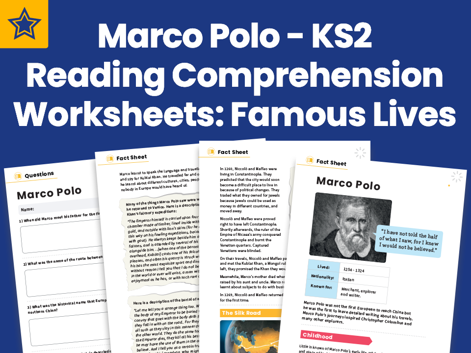 Marco Polo - KS2 Reading Comprehension Worksheets: Famous Lives