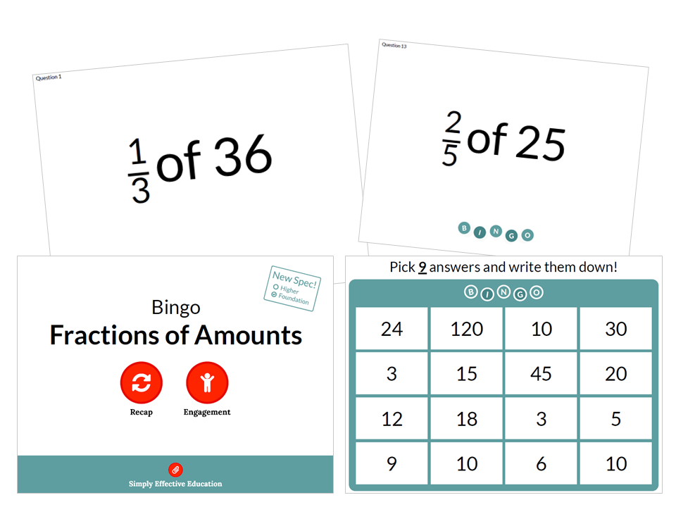 Fractions of Amounts (Bingo)