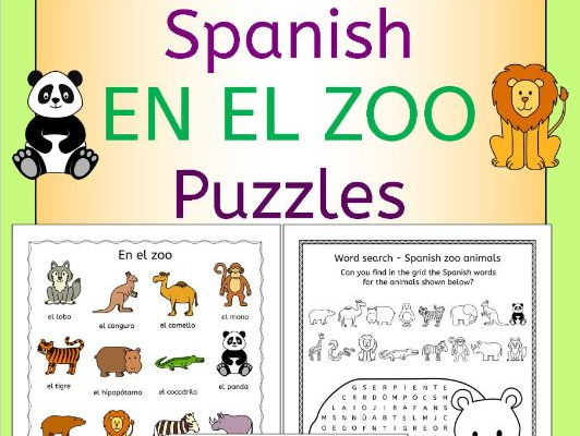 spanish zoo animals en el zoo puzzles pack by llanguagellamas teaching resources. Black Bedroom Furniture Sets. Home Design Ideas