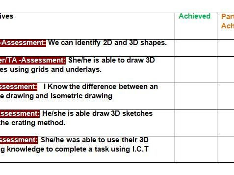 2D and 3D drawings Assessment checklist