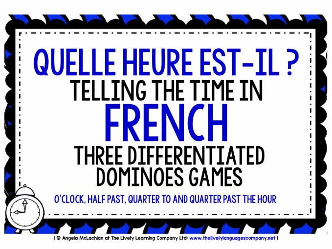 FRENCH TELLING THE TIME (1) - 3 DIFFERENTIATED DOMINOES GAMES