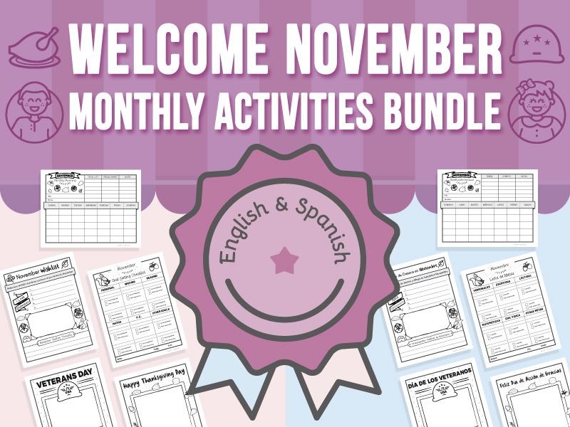 Welcome November - Monthly Activities BUNDLE