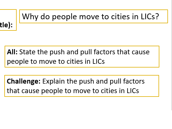 Why do people move to cities in LICs?