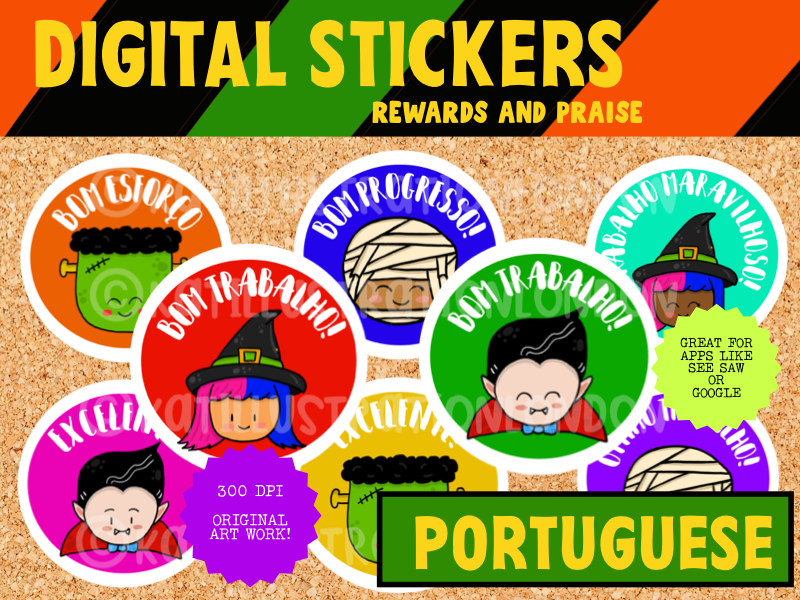 Portuguese Digital Stickers - Halloween 2 - Seesaw or Google Apps