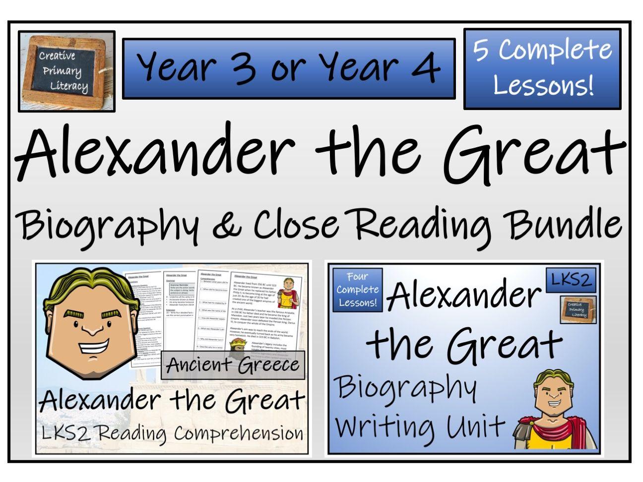 LKS2 History Alexander the Great Reading Comprehension & Biography Bundle