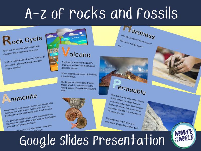 Rocks and fossils A-Z Google Slides presentation