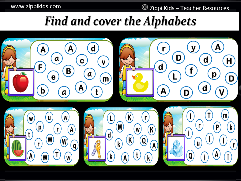 Digital Alphabet Find and Dab | Virtual Letter Dabbing – 26 Google slides