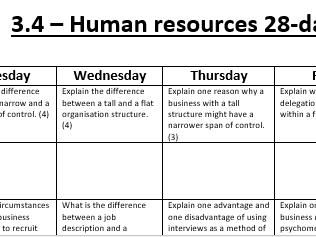 AQA GCSE Business 3.4 28 day challenge